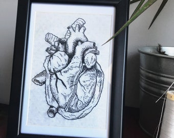 Human Heart - Embroidery Wall Art