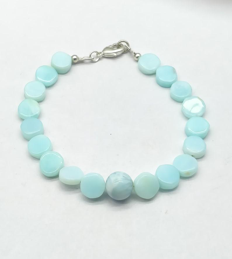 Quality Peru Opal,Larimar 8.5-9.5 mm 18 cm bracelet gift for wife Handmade Bracelet Natural AAA++ mother girlfriend code-CD66