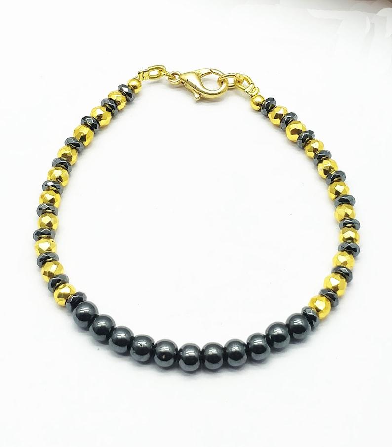 Top Handmade Quality Bracelet Hemetite,Gold Pyrite 4-4.5 mm 18 cm bracelet gift for wife girlfriend code-CD30 mother AAA++