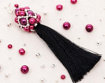 MARSALA TASSEL DROP - long tassel earrings, marsala earrings, statement elegant earrings