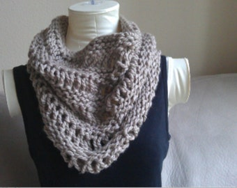 Chunky Taupe Knitted Cowl Infinity Scarf