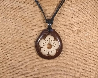 Carved Flower Tagua Nut Necklace