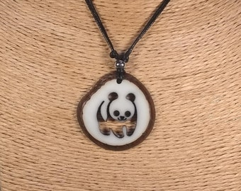 Carved Panda Tagua Nut Necklace