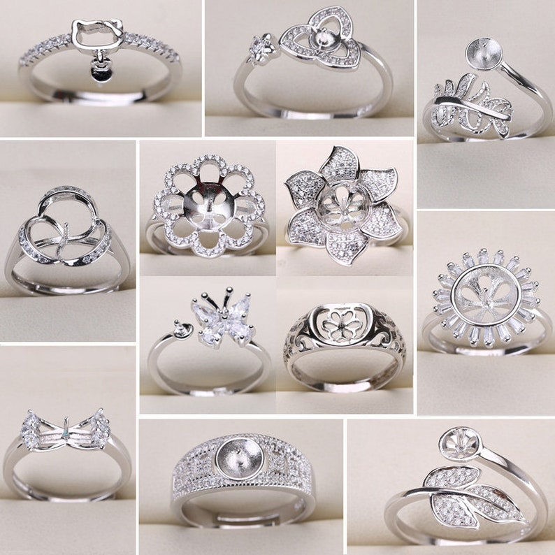 Pearl Ring Settings 925 Sliver Rings for Women 14 Styles Mix DIY Rings Adjustable Size Ring Settings Christmas Gift Wholesale Jewelry