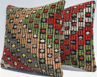 Garden pillow case Sharkkoy kilim pillow covers 2 pillows handmade kilim pillow cover square pillow 16x16 2 kilim rug