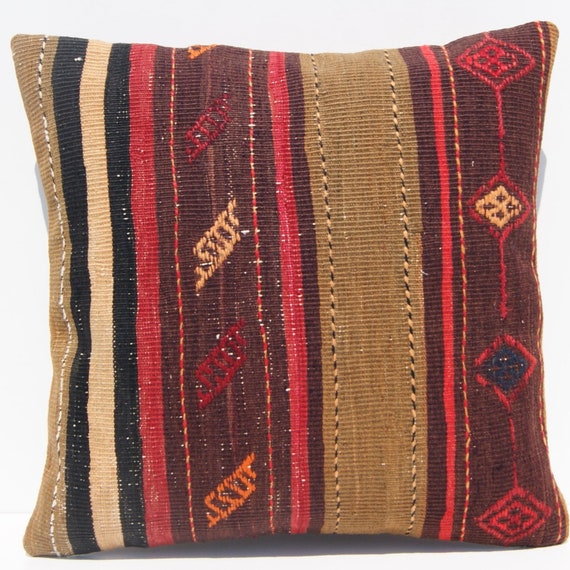 rug pillow  Persian old pillow cover hand made  pillow case 16x16 square vintage decorative kilim rug
