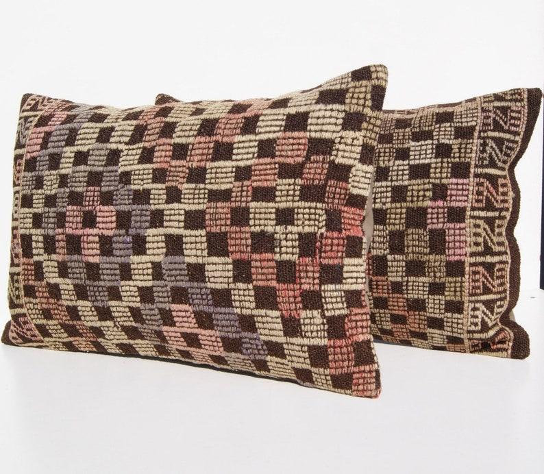 Turkish Embroidered 24x16 Turkish 2 cushion,rectangle weaving p\u0131llow case handmade 2 kilim rug