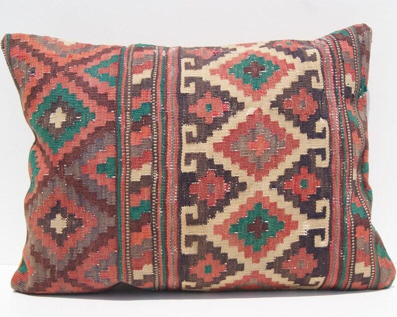24x18 rug pillow persian kilim pillow cover durable cushion,r\u0131dge cush\u0131on  pillow case rectangle p\u0131llow handmade kelim rug