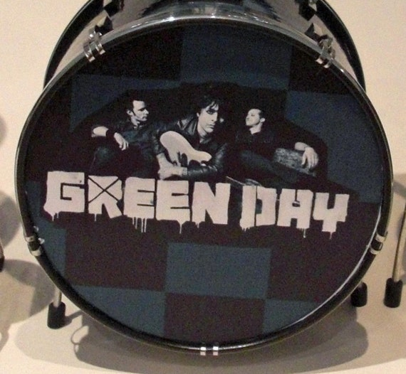 The Cool Green Day Miniature Drum Kit Etsy