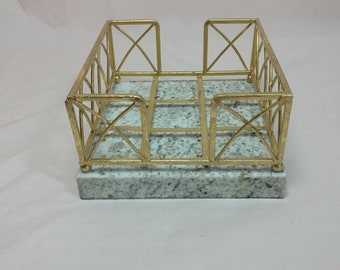 Six Vintage Glass Green Stones with Metal holdings Napkin Holders