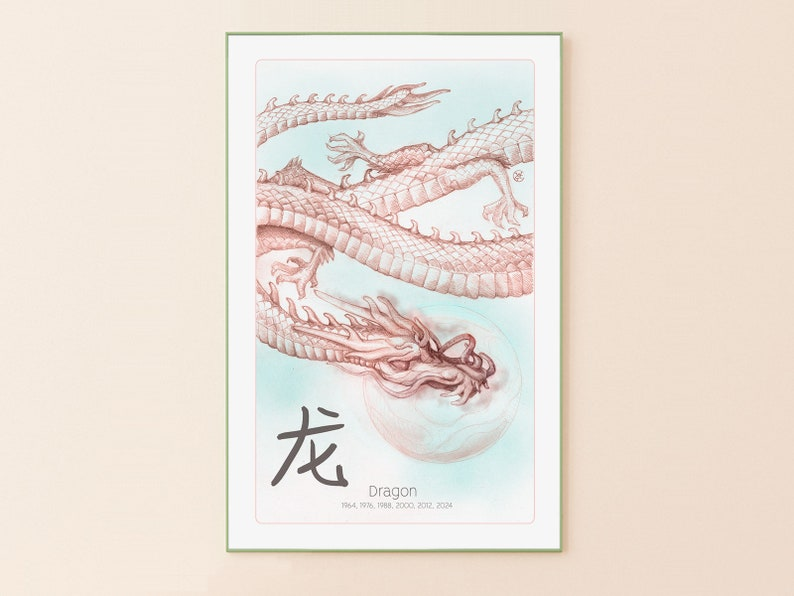 Dragon Asian Art Print | Chinese Horoscope | Giclee Print | Japanese Style  | Astrology | Chinese Characters | Birthday Gift | Gift for Him