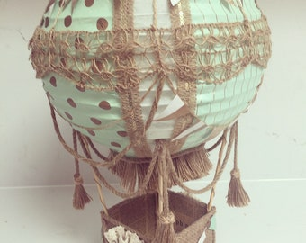 Hot air balloon, vintage mint and gold