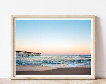Sunset Beach Print, Colorful Beach Photography, Calming Blue Wall Art, Modern Coastal Decor, Large Wall Art, North Carolina Beach