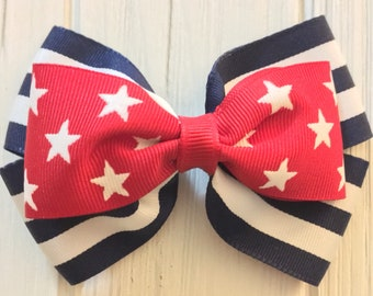 Red white and blue boutique bow for 4th of July