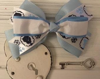 Frozen themed blue boutique bow
