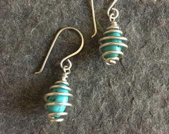 Calder Coil Earrings, Sterling Silver, Turquoise Earrings, Coiled Earrings, Hand Forged, Dangle Earrings, Wire Wrap, Handmade Earwires