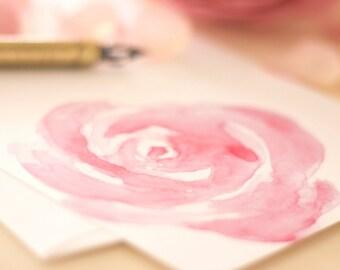 Pink Rose Stationery Notecards