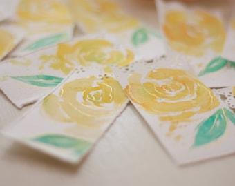Beautiful Bookmark in Gilded Yellow Rose, Hand Painted Bookmark, Watercolor Bookmark