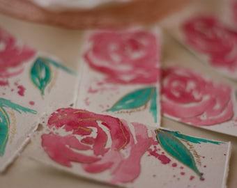 Beautiful Bookmark in Gilded Cranberry Rose, Hand Painted Bookmark, Watercolor Bookmark