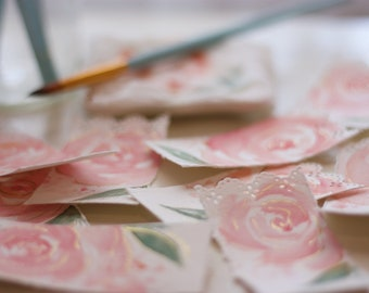 Beautiful Bookmark in Gilded Peach Rose, Hand Painted Bookmark, Watercolor Bookmark,