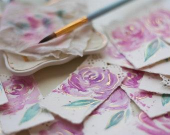 Beautiful Bookmark in Gilded Berry Rose, Hand Painted Bookmark, Watercolor Bookmark