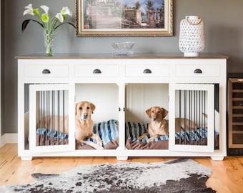Designer dog crate furniture room design plan Wooden Custom Hardwood Double Dog Kennel Furniture With Drawers Deslag Dog Crate Furniture Etsy
