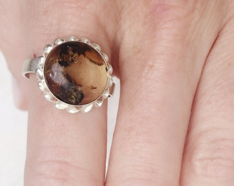Genuine Mexican amber round ring in sterling silver
