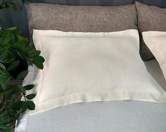 LINEN OXFORD PILLOWCASE Softened. King Queen Standard sizes. Flax Pillow Sham. White Gray colors