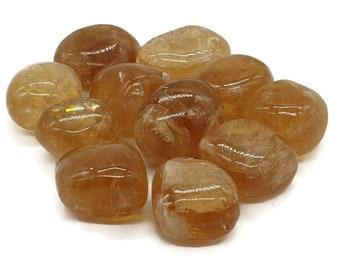Tumbled Natural Honey Calcite Crystal - Tumble Stone - Citrine Calcite - Calming  -  Reiki  - Chakra  - Crystal Grid -  Gift - 5g - 100g