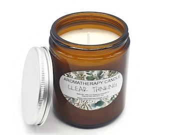 Clear Thinking Aromatherapy Soy Wax Candle - Rosemary - Long Burn - Natural - Eco Friendly - Vegan - Chakra  - Reiki -   Gift - 200g