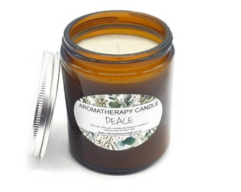 Peace Aromatherapy Soy Wax Candle - Lavender and Geranium - Long Burn - Natural - Eco Friendly - Vegan - Chakra - Reiki -  Gift - 200g