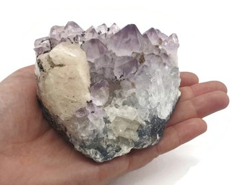 Natural Amethyst and Calcite Cluster Specimen  - Crystal Druze - Protection - Calming - All purpose - Reiki - Chakra -  Gift -  532g