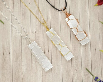 Wire Wrapped Natural Raw Selenite log - Raw Selenite -  Necklace - Pendant - Reiki -  Cleansing -  Chakra -  Gift -
