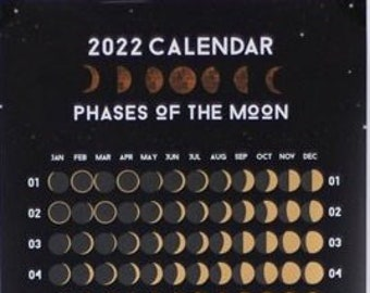 2022 Moon Phase Calendar - Moon Phase Poster - Moon Phases - Lunar Calendar - Moon wall art - Moon Decor - Moon Print - Gift