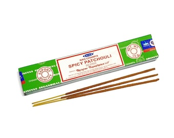 Satya Spicy Patchouli Incense Sticks -  15 Stick Packet -  Grounding -Balancing - Anxiety - Smudging - Smudge Sticks