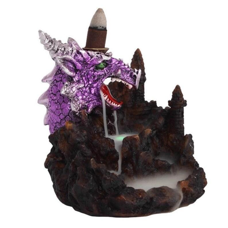 Back Flow Incense Cone Burner  Purple Light Up Dragon   Back image 0