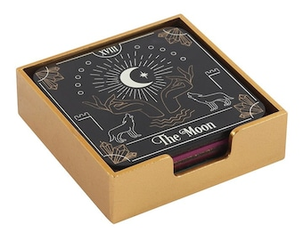 Tarot Card Coaster set - 4 Coasters Set  -  Fortune Tellers Tarot card Coasters - Tarot cards - Divination - Decor - Gift