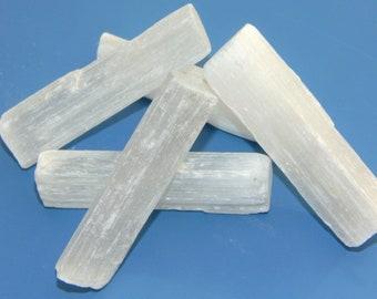 Raw Selenite Wand Log -  Moroccan Satin Spar - Bar Crystal - Reiki -  Cleansing - Crystal Grid - Chakra -  Gift -  4cm - 6cm