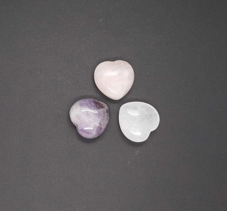 Carved Natural Crystal Heart  Worry Stone  Pocket Stone  image 0