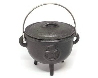 Cast Iron Pentagram Cauldron - Witches Cauldron - Spell Cauldron - Pagan - Altar -  Gift - 11cm