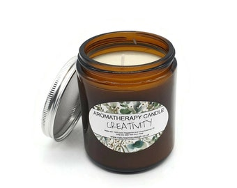 Creatitivy Aromatherapy Soy Wax Candle - Peppermint and Clove - Long Burn - Natural - Eco Friendly - Vegan - Chakra  - Reiki -   Gift - 200g
