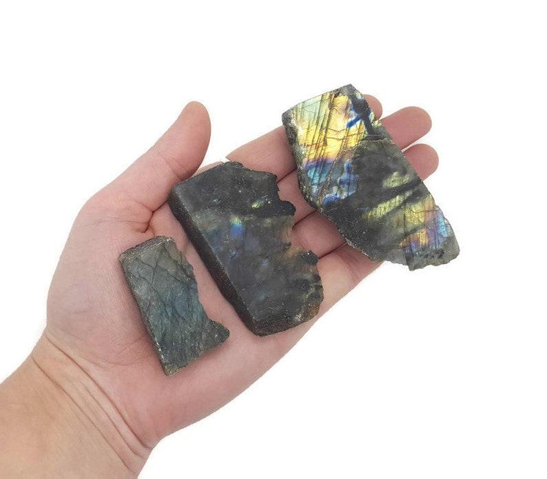 Natural Labradorite Polished Slab   Raw Labradorite Stone image 0