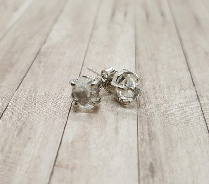 Natural Hermiker Diamond  925 Sterling Silver Earring Studs  image 0
