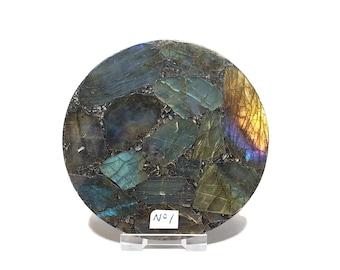 Polished Natural Labradorite Plate - Labradorite -  Disk - Spectrolite - Reiki - Aura - Decor - Chakra - Gift - Guaranteed Colour - 10.5cm