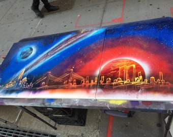 From the Past to the Future New York City spray paint skyline