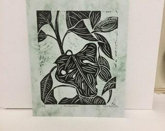 Sunflower, linocut print by @ uniquelykostyaboots