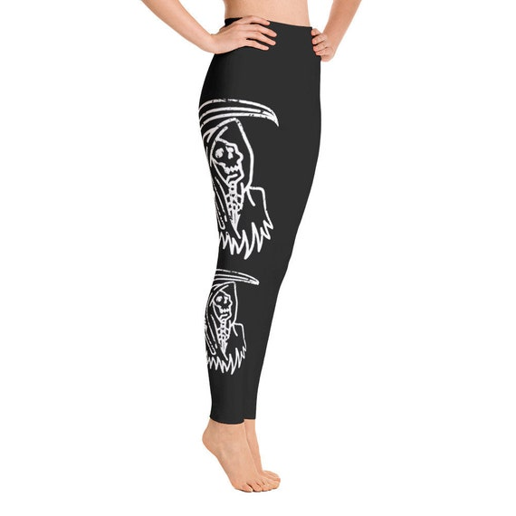 Grim Reaper Leggings Gothic Clothing Halloween Occult Witch Witchcraft Yoga Pants Gift Her Gift For Women Birthday Gift Punk Boho Vampire