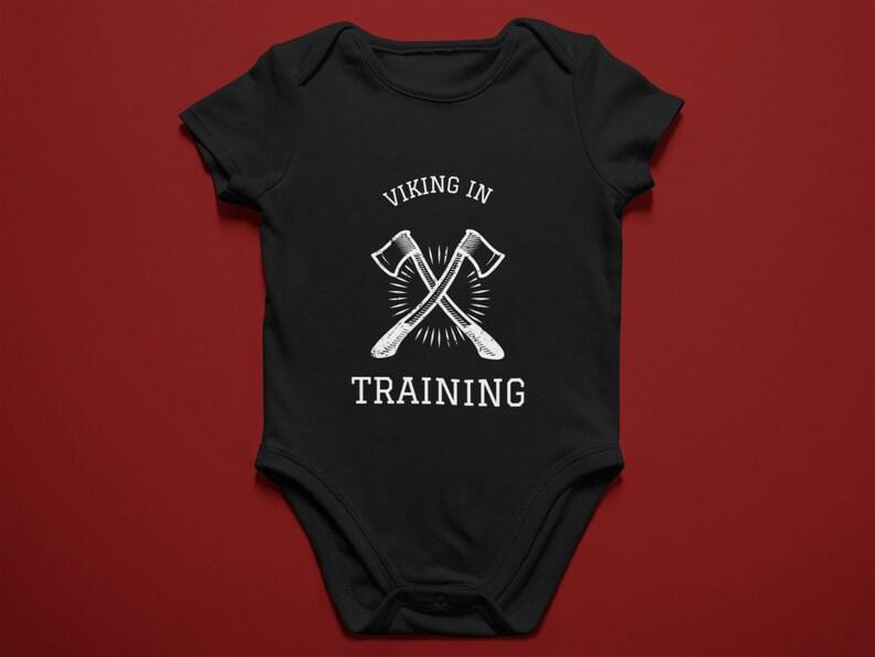 Viking in Training gender neutral black baby bodysuit Norse Mythology gift idea.