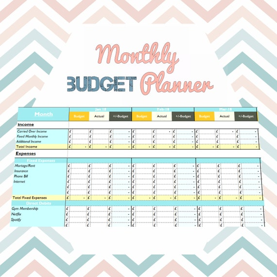 pretty interactive excel 12 month budget planner excel etsy