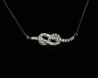 Diamond and 18K Gold Infinity Necklace